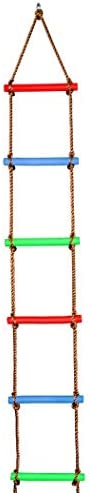 Fanspack Climbing Rope Ladder 6 Sections Hanging Ladder Tree Ladder Toy for Playground