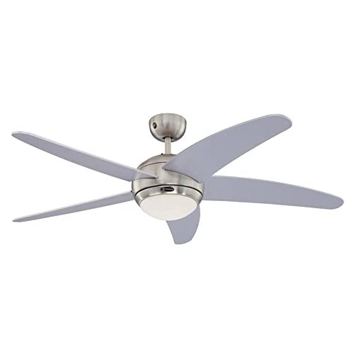 Westinghouse Lighting BENDAN Ceiling Fan, Metal, R7s, 80 W, Satin Chrome finish with silver blades