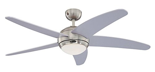 Westinghouse Ventilatore a Soffitto Bendan R7s, 80 W, Finitura in Cromo satinado, Pale in Argento