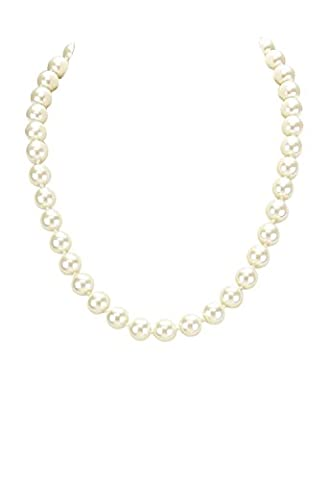 Rosemarie Collections Women's Classic 20 Inch Cream Faux Pearl Strand Necklace