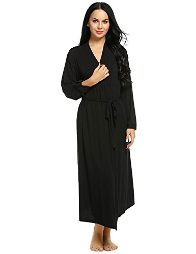 - 31yyaYFUX3L - Ekouaer Plus Size Lingerie Womens Full Length Sleepwear Lounge Bath Robes