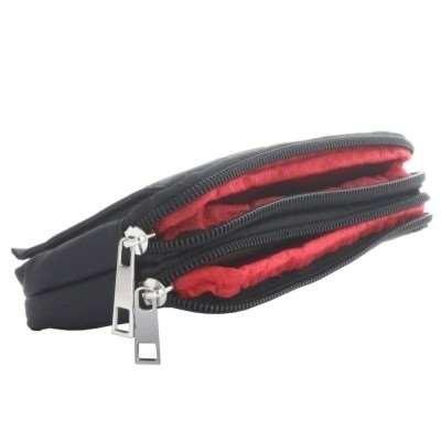 2 Tasche Mit Reißverschluss-tasche (Horizontal-Tasche Quertasche Reisetasche mit 2 Reißverschlüssen, Klettverschlussfach, Gürtelschlaufe, schwarz, passend für z.B. Nokia Lumia 830, Samsung Galaxy S5, Note 3, Sony Xperia Z2 , Xperia Z3 usw.)