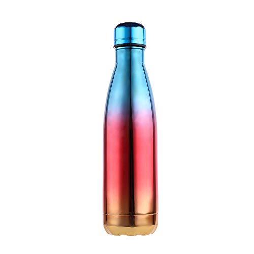 LIXIAOYUN Cola Cup, Vakuumisolierte Wasserflasche 500 Ml Gradient Farbe Doppelwand-Edelstahl-Leak Proof Hot & Cold Sportgetränke Flasche,F