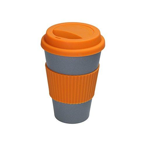 BIOZOYG Stylisch & nachhaltig - Grauer Kaffee to go Becher aus Bambus mit Silikondeckel und Silikonmanschette in orange I Coffee Cup Bamboo Reisebecher to go Mug 375ml