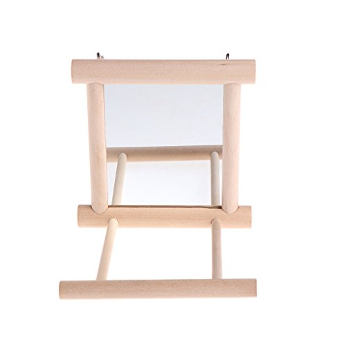 Kalttoy Pet Bird Spiegel aus Holz Spielen Spielzeug mit Sitzstange für Papageien Wellensittiche Sittiche Nymphensittiche Sittiche Finch Unzertrennliche