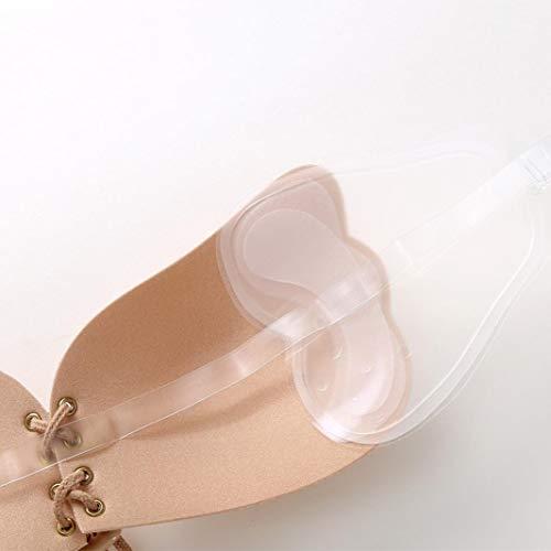 MORCHANLes Femmes Auto-adhésives sans Bretelles Bandage de Gel de Gel de Maille translucide de Silicone Push Up Invisible️(B,Kaki)