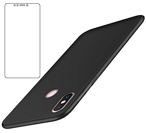 BLUGUL Xiaomi Mi Max 3 Hülle + Panzerglas, Ultradünn, Voll Schützend, Seidengefühl, Schutzfolie und Harter Schutzhülle für XiaoMi Max 3, Schwarz