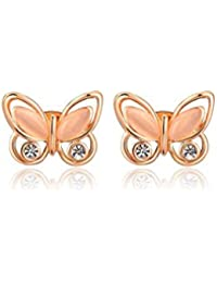 Silver Shoppee 'Flirtatious me' Austrian Crystal and Opal Studded Sterling Silver Earrings for Kids, Girls and Women