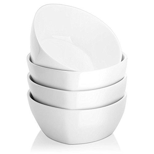 DOWAN 500ml Ciotole per Cereali in Porcellana Quadrata - Set di 4, Bianco