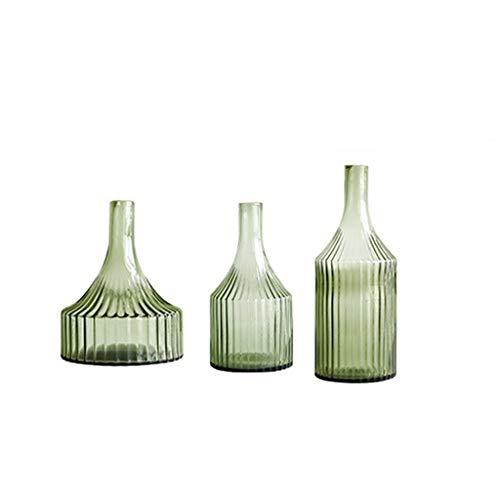 Wohnzimmer-zubehör-set (ZHING Glasvasen Für Hochzeitstisch Handgemachte Glasvase Vertikale Streifen Wohnzimmer Studie Zubehör Set (1 Satz Von 3))