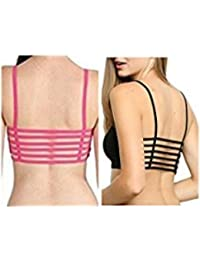 Beyond Beauty Women's 6 Strap 2 Pc Of Bra Combo(Hh-457-65_Black Dark Pink_Free Size)