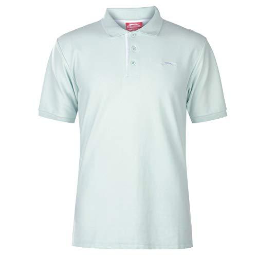 Slazenger Herren Poloshirt Polohemd Kurzarm Kragen-Ansatz Sommer Freizeit Top Aqua XL - Aqua-Ärmelloses Top