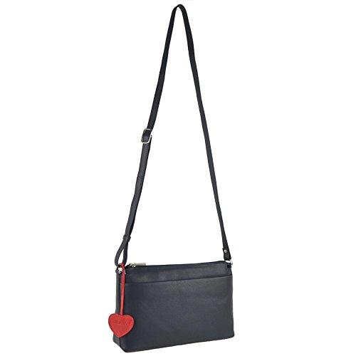 Mala Leather, Borsa a tracolla donna Nero Blu Blu