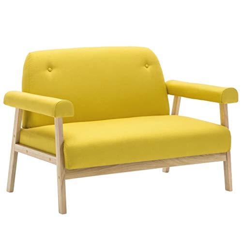 vidaXL Sofa 2-Sitzer Gelb Stoffsofa Polstersofa Loungesofa Sessel Sitzmöbel