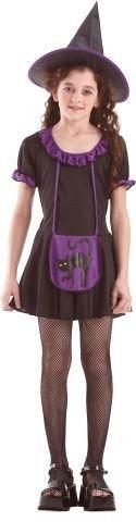 Foxxeo Hexenkostüm Kostüm Hexe für Kinder Kinderkostüm lila Katze Halloweenkostüm Halloween Hexen Gr. 122-128 - 134-140 Größe - Hexen Kostüm Kinder Katze