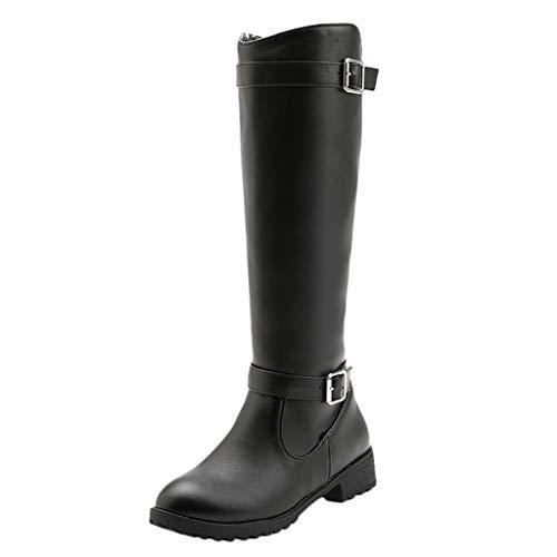 COZOCO Damen Einfarbige Schnallen Stiefel rutschfeste Stiefel mit niedrigem Absatz Kunstleder wasserdichte langem Schaft Stiefel(A-Schwarz,38 EU)