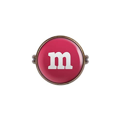 Kostüm Gruppe Süßigkeit - Mylery Ring mit Motiv Buchstabe m Rot Bronze 16mm