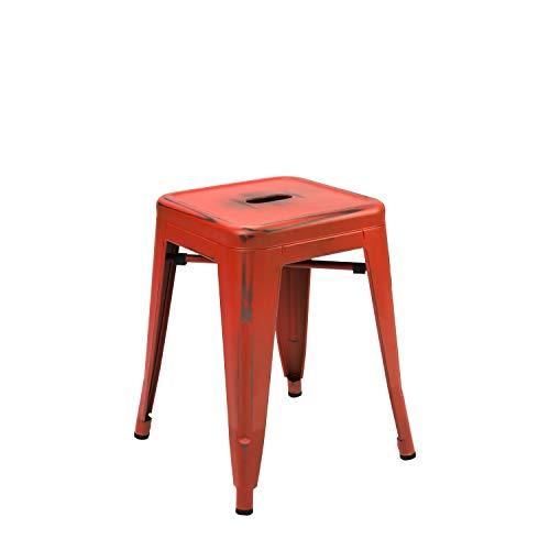 Vaukura Taburete Bajo Tolix - Taburete Industrial Metálico Vintage (Rojo)