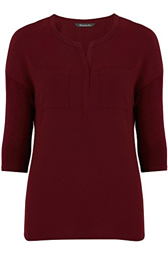 ex-stores-ladies-womens-pocket-work-smart-loose-fit-blouse-top-black-bugundy-white-10-24-18-burgundy