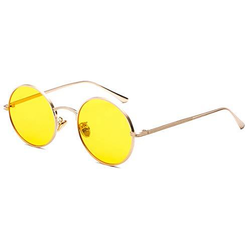Inlefen Sonnenbrille Männer Frauen Runde Retro Vintage Kreis Stil Sonnenbrille Farbige Metallrahmen Brillen Gold gelb
