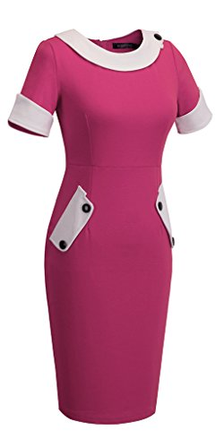 HOMEYEE - Robe - Moulante - Bodycon Cocktail Patchwork - Femme 832 Rose