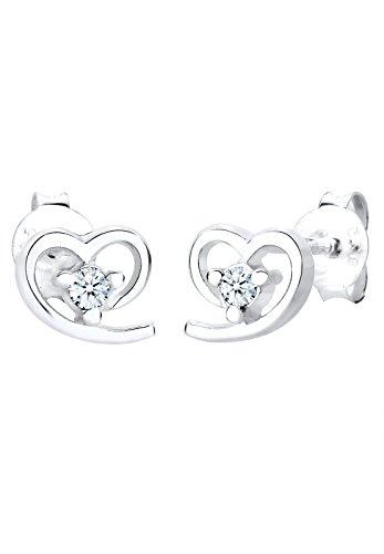 Diamore Damen Ohrstecker Herz 925 Sterling Silber Diamant weiß 0,06 ct (Pave Diamant-ohrringe)