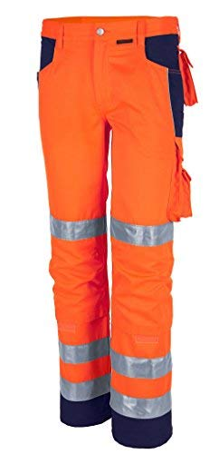 Qualitex Warnschutz-Bund-Hose Arbeits-Hose PRO MG 245 - orange/marine - Größe: 54 -