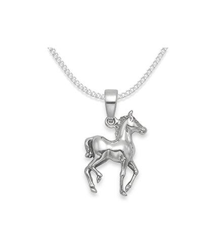 Sterling Silber Kinder Pferd Anhänger auf 37cm Silberkette. Herzen Geschenk Box & geschenk tag (Heather Mädchen)