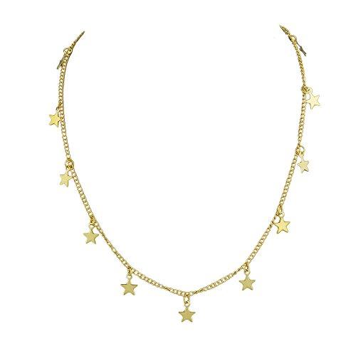 Feelontop Minimalistischer Stil Gold Silber Farbe Kurze Kette Stern Charms Halsband Halskette mit Schmuckbeutel (Gold)