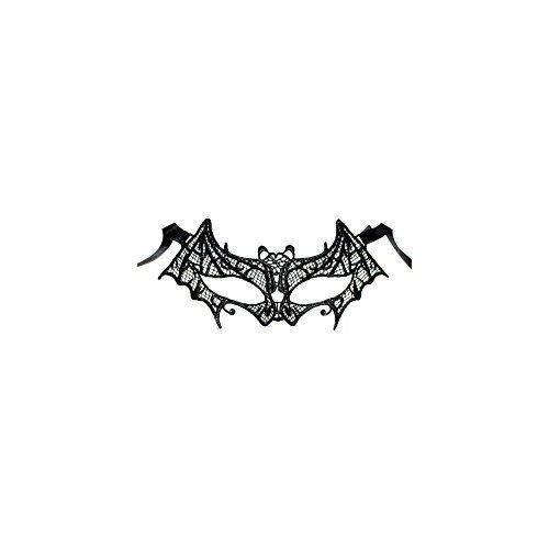 Erwachsene/Kinder Gothic Kostüm Halloween Fledermaus Spitze Maske - schwarz, Schwarz