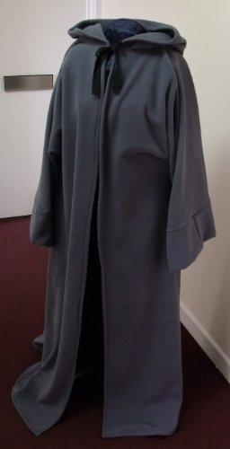139,7cm Länge Grau Fleece Jedi Robe Erwachsene Größe mit Öffnung vorne, Zeremonie/RITUAL/Pagan/Jedi/Wizard/Larp