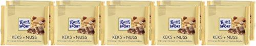 RITTER SPORT Keks + Nuss (10 x 100 g), Vollmilchschokolade mit knusprigen Kekskugeln und Haselnüssen, Schokolade mit Keks, knackiger Schokogenuss