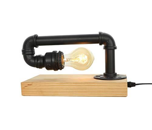 GYL LIGHTING Vintage Tischlampe, Retro Industrie Eisen Wasserpfeifen Tischleuchte für Nachttisch (Steampunk) VTL-183