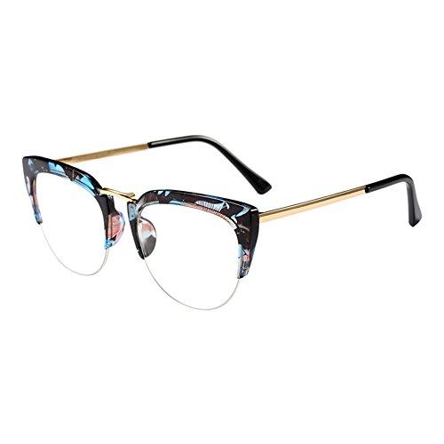 Haodasi Cat Eye Semi-Rimless Im Freien Brille Mode Klare Linse Brillen Halber Rahmen Zusammengesetzt Rahmen Retro Persönlichkeit Eyewear für Damen Mädchen