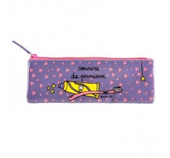 Derrière La Porte - Estuche para cepillo de dientes, diseño con texto 'sourire de princesse', color violeta y rosa