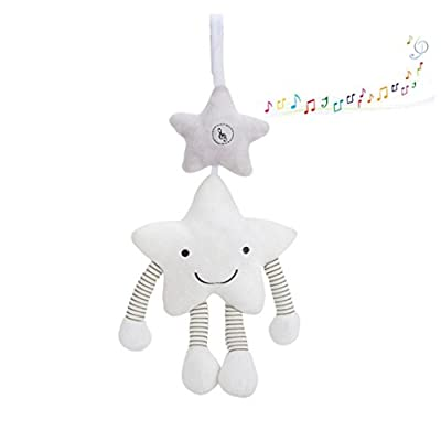 Gaddrt Baby Infant Rattles Plush Pentagr Stroller Hanging Bell Play Toys Doll Soft Bed - 38cm x 21cm White