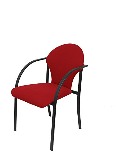 Silla confidente ergonómica con brazos fijos incorporados, apilable y estructura en color negro - Asiento y respaldo tapizados en tejido...