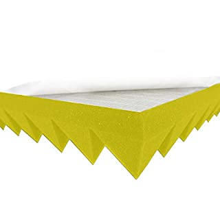Akustikpur Acoustic Foam Pyramid Foam Colour Yellow Self-Adhesive, Approx. 49 x 49 x 5 cm) Sound Insulation Mats for Effective Acoustic Insulation