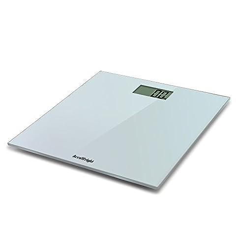 Accuweight AW-BS001 Pèse Personne Électronique, Plate-forme en Verre 400lb/180 kg,