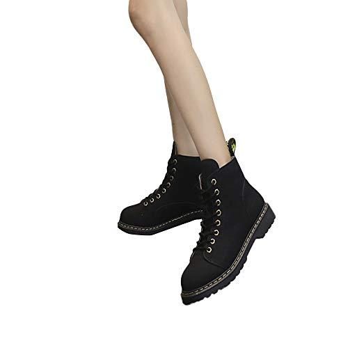 MYMYG Damen Klassische Stiefeletten Fell Gefüttert Herbst Winter Warme Stiefel Sportschuhe Modische Schnürstiefel Winterstiefel Bequeme Flach Boots Freizeitschuhe Chelsea Boots