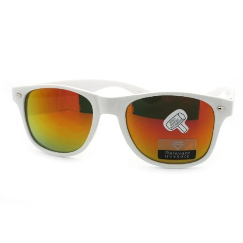 JuicyOrange Classic White Wayfarer Sunglasses with Orange Revo Lens