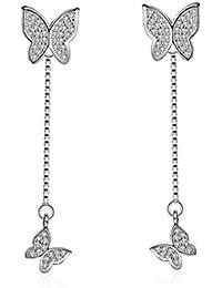 Wiftly Femme Fille boucles d'oreilles en Argent 925 et Zirconium Longue de la Houppe Double papillon de mode Studs
