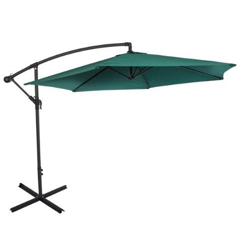 Ultranatura ombrellone della serie bahamas - ombrellone a manovella, in sospensione, si può usare come ombrellone da balcone, da giardino, da terrazzo, verde