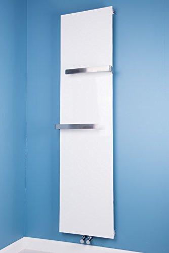 WarmeHaus Designer 1800 x 452mm White Flat Panel Vertical Radiator with Chrome Towel Rail