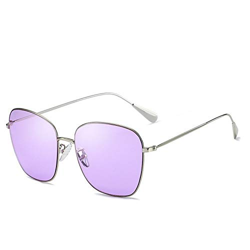 MJDABAOFA Sonnenbrillen,Randlose Sonnenbrille Frauen/Männer Silver Frame Lila Objektiv Metall Gläser Dame Spiegel Sonnenbrille Retro Sonnenbrille