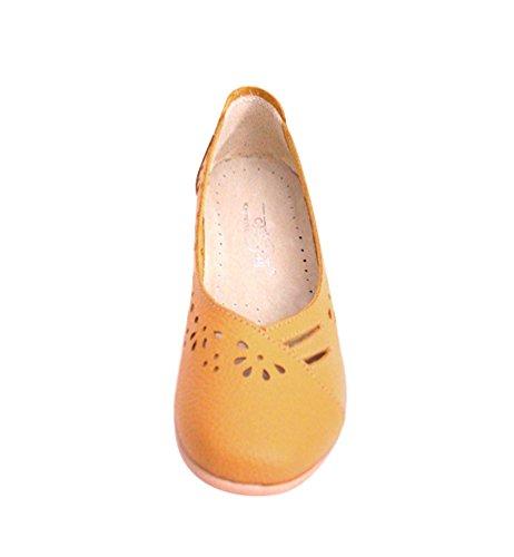 YAANCUN Femme Cuir Chaussure Ballet Casual Pompes Creux Respirant Ballet Slip Plat Dentraînement Chaussures De Bateau Jaune