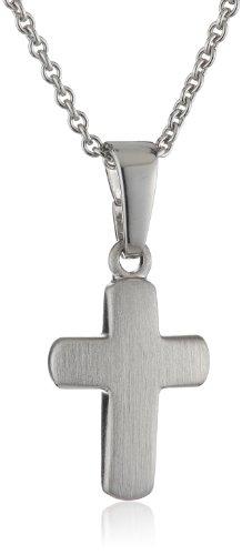 Xaana Kinder und Jugendliche-Anhänger 925 Sterling Silber Kreuz matt incl Kette 36-38 cm rhodiniert 12 mm AMZ0163