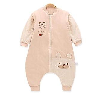 Saco de dormir para bebé con piernas divididas, pijama para niños pequeños, algodón, otoño e invierno, grueso, combinado, doble uso, anti-patada, manga desmontable, saco de dormir unisex, 6-18 meses
