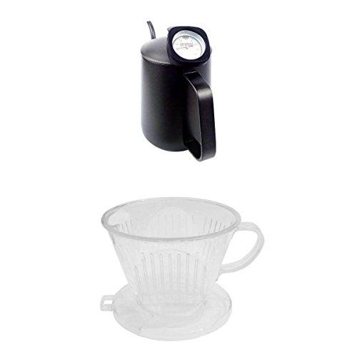 MagiDeal Bouilloire à Café Thermomètre Carafes à Café à Thé avec Verseur de Col en Inox 600ml + Porte-Filtre à Café en Plastique
