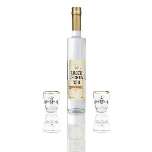 Geschenkset mit Alkohol Original Arschlecken 350 Markus Langer 0,5l Schnaps Williamsbirne & 2 Schnapsgläser Stamperl aus Glas, 2 cl